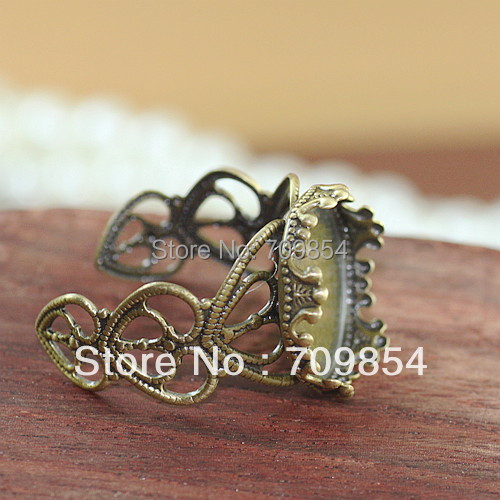 free shipping!!! 100pcs/lot 15mm pad antique bronze love heart filigree wrap ring base jewelry findings<br>