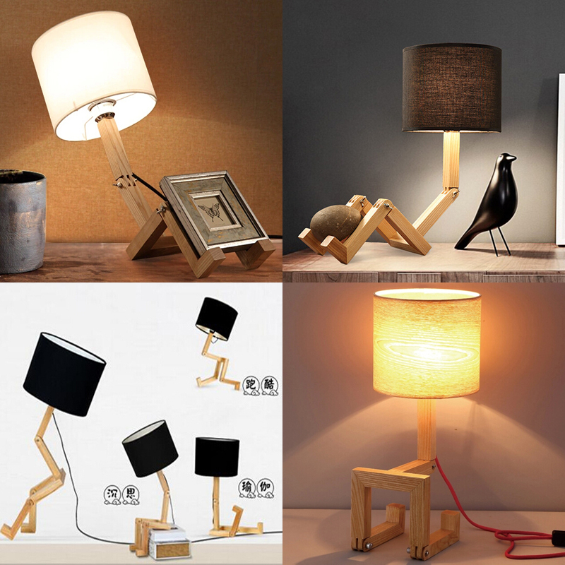 New Design Wood Table lamps Desk light Living Room Bedroom Decor solid wood table lighting A variety of shapes can be adjusted(China (Mainland))