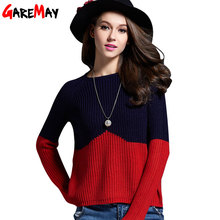 GAREMAY 2016 Sweater Women Knitted Sweater Short Contrast Color Splice Sweater For Women Simple Slim Pullover Maglioni Donna 064(China (Mainland))