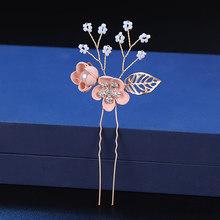 Mode rose bleu fleur épingles à cheveux perles strass cheveux peignes bal mariée mariage cheveux accessoires or feuilles cheveux bijoux(China)