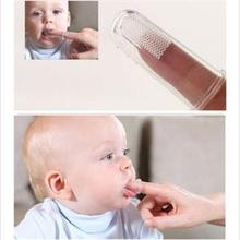 New 2Pcs Soft Safe Baby Kids Silicone Finger Toothbrush Gum Brush For Clear Massage