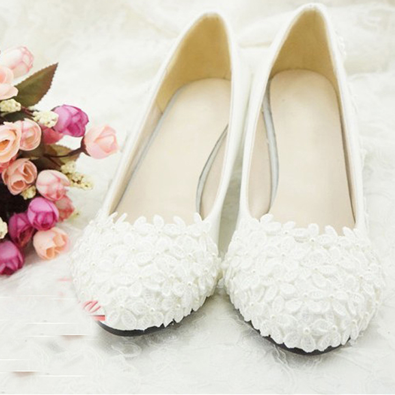 Shoes Bridesmaid Shoes Woman White High Heel Bridal Shoes Lace Flower