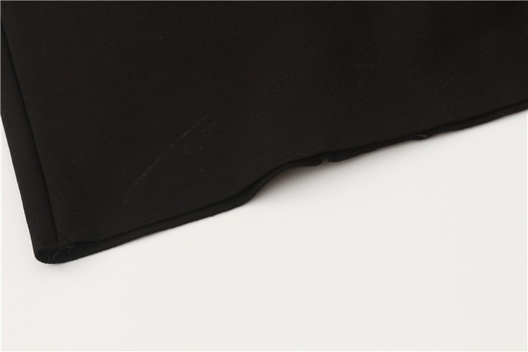 Top Quality HL Black Leather Keyhole Off The Shoulder Rayon Bandage Dress Cocktail Party Bodycon Dress
