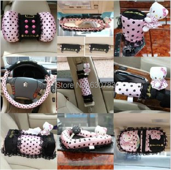 hot sale 13pcs set hello kitty pink car interior accessories set and interior decoration with. Black Bedroom Furniture Sets. Home Design Ideas