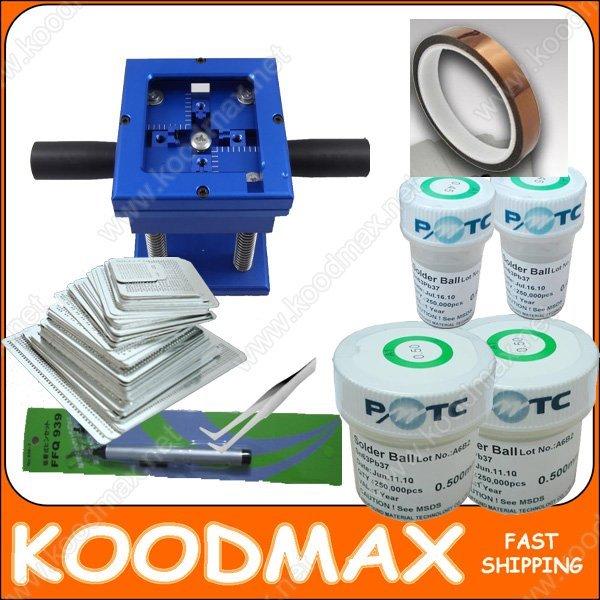 BGA Reballing Station + 100 Stencils (For Notebook)+ Leaded Ball * 4 pcs + AL Tape + Vaccum Pan + Tweezer + BGA Brush
