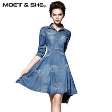 Buy Summer Style Women Denim Dress Women Clothes Vintage Half Sleeve Long Embroidery Slim Dresses Plus Size Vestidos de festa D52547 for $19.69 in AliExpress store