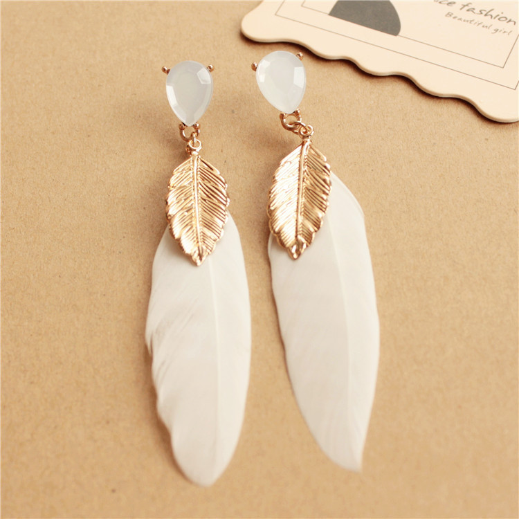 Handmade elegant feather drop earrings fashion women accessories vintage style alloy long feather earrings for women (XXE-025)(China (Mainland))