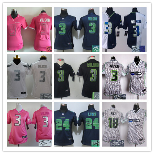 Signature 2016 Women Ladies Seattle Seahawks, Marshawn Lynch,Richard Sherman,,Russell Wilsons # TYLER LOCKETT(China (Mainland))