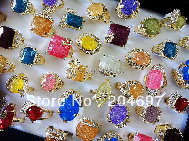 Mix 25pcs Shining Colorful Faux Stone Rings Crystal Alloy Rings Fashion Lady's Ring Rhinestone Jewelry Lots Wholesale