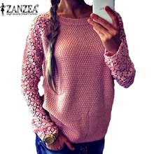 Zanzea Spring Autumn Fashion Women 2016 Long Sleeve Lace Patchwork Casual Pullover Ladies Sweaters Plus Size S-XXXL 5 Color(China (Mainland))