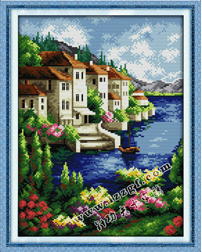 Needlework,DIY Set Full Embroidery kit,Scenic Blue Seaside House Cabin Counted Cross-Stitch Scenic Paint Wall Home Decor(China (Mainland))