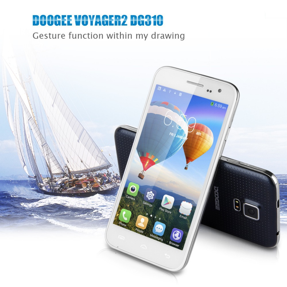 5'' DOOGEE DG310 IPS Screen 3G Smartphone Android 4.4 MTK6582 1.3GHz Quad Core Mobile Phone Dual SIM 1G RAM 8G ROM Phone White(China (Mainland))