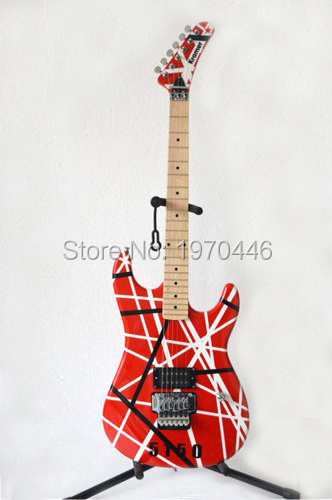 New arrival Guitars kramer 5150 RED and white stripes EVH Series ARI tremolo Electric guitar Free shipping(China (Mainland))