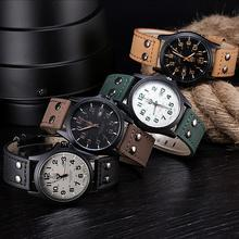 Vintage Classic Men's Waterproof Date Leather Strap Sport Quartz Army Watch&Freeshipping