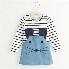 TANGUOANT פסים טלאים אופי ילדה שמלות ארוך שרוול חמוד עכבר ילדי בגדי ילדים בנות שמלת ג 'ינס ילדים בגדים(China)
