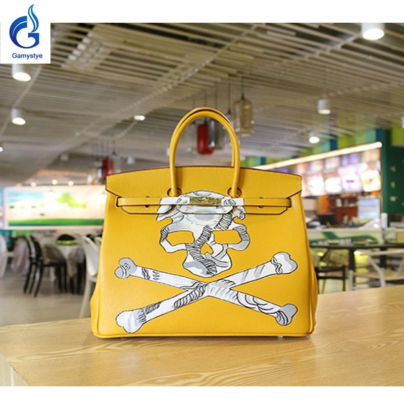 GAMYSTYE Graffiti leather handbags yellow rock skull Women's luxury Bags Hand Painted totes Europe and America HIP-POT bags(China (Mainland))