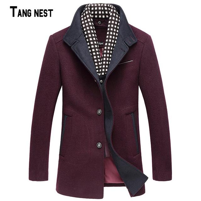 2016 новое поступление мужчины нежный корейской сплошной плащ мужчины шерсть пальто мужское мода уменьшают подходящую долго MWN166