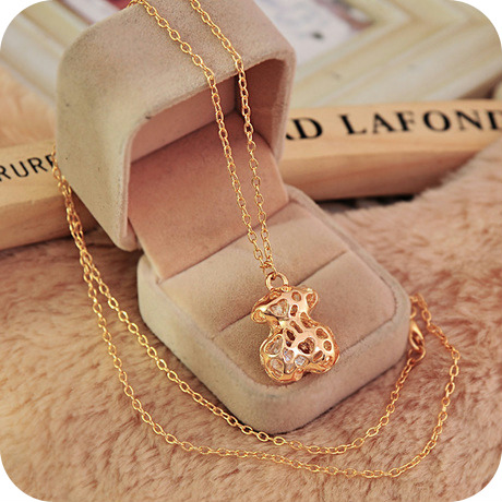 wholesale lot accessories necklace long necklace cutout fashion bear gold sweet all-match B0192(China (Mainland))
