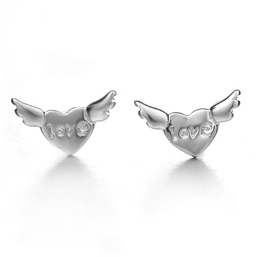 925 stud earring pure silver female heart on top anti-allergic accessories(China (Mainland))