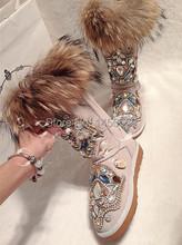 2014 nuevas llegadas FoxFeather zapatos mujeres del cuero genuino botas de nieve mejores ventas de invierno zapatos envío gratis zapatos de diamantes(China (Mainland))