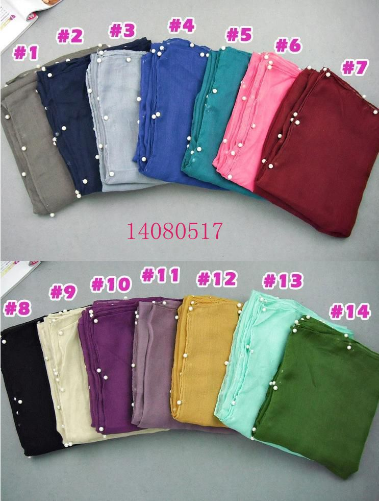 Pearl Scarf Free shipping Muslim Hijab Candy Colour Scarves Fashion Shawl Muffler Head Wrap Voile Wraps New Design Wholesale(China (Mainland))