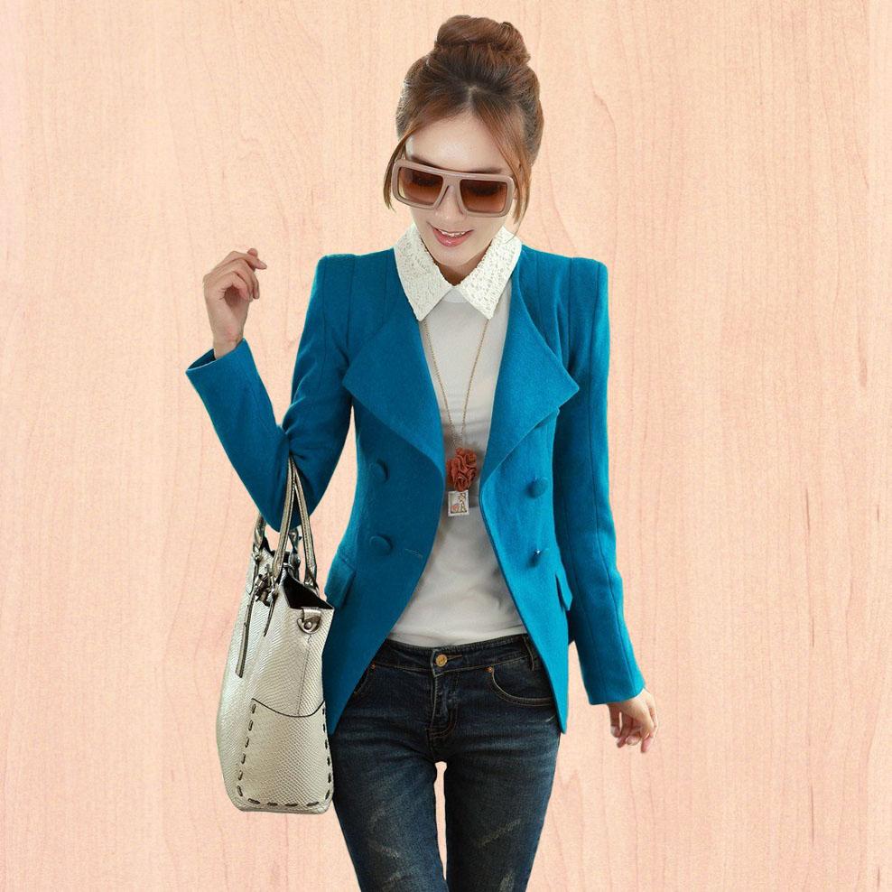 Cicada 2013 autumn and winter women slim all-match fashion double breasted fashion short jacket(China (Mainland))