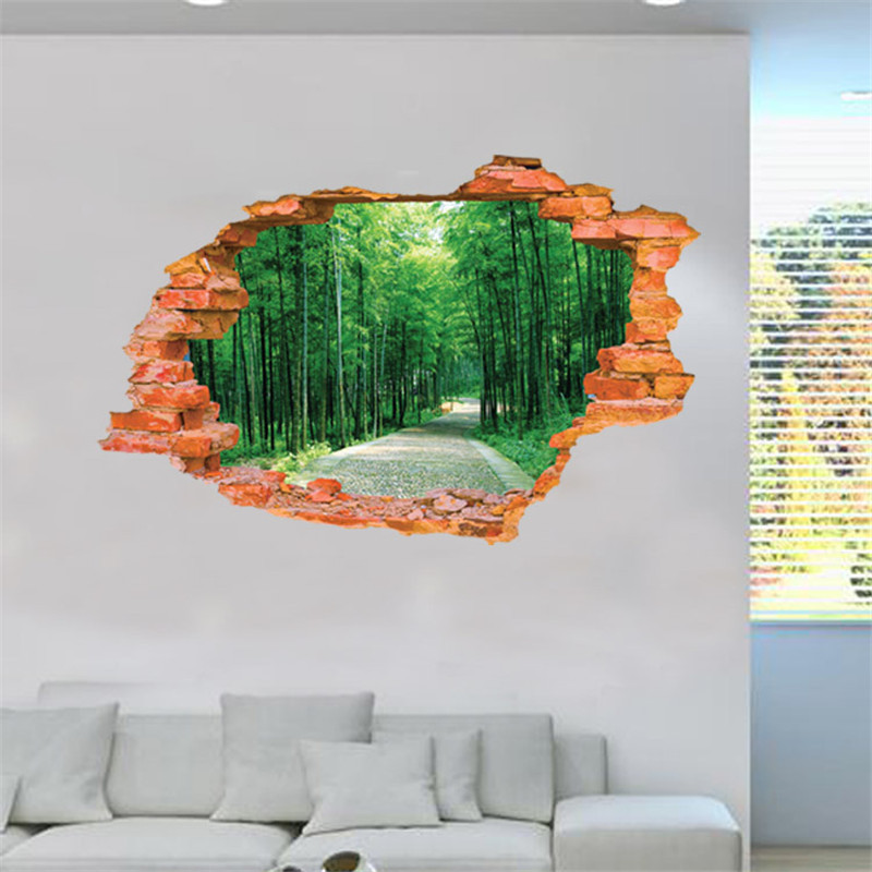3d Broken Wall Pattern Wall Stickers Chinese Wind Bamboo