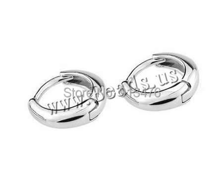 Free shipping!!!Brass Huggie Hoop Earring,Korea Jewelry, silver color plated, nickel, lead &amp; cadmium free, 11x11mm, 20Pairs/Bag<br>