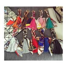 2017 Fashion High Quality Tassel Printing Round Silk Scarf Small Ribbon Women DIY headband Handle Bag wholesale 18cm(China (Mainland))