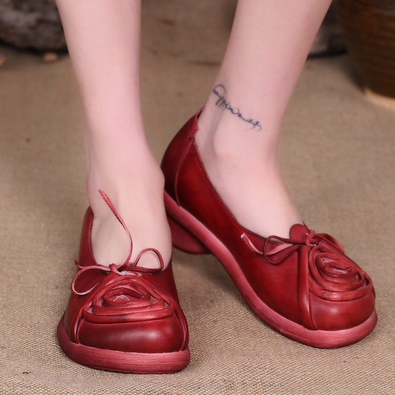 2016 Women Shoes Flats Heels Hnadmade Flower Women Vintage Shoes Round Toe Cow Leather  <br><br>Aliexpress