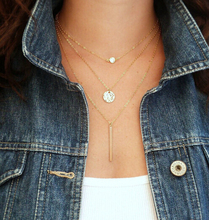 Hot Fashion Gold Plated Fatima Hand 3 Layer Chain Bar Necklace Beads and Long Strip Pendant