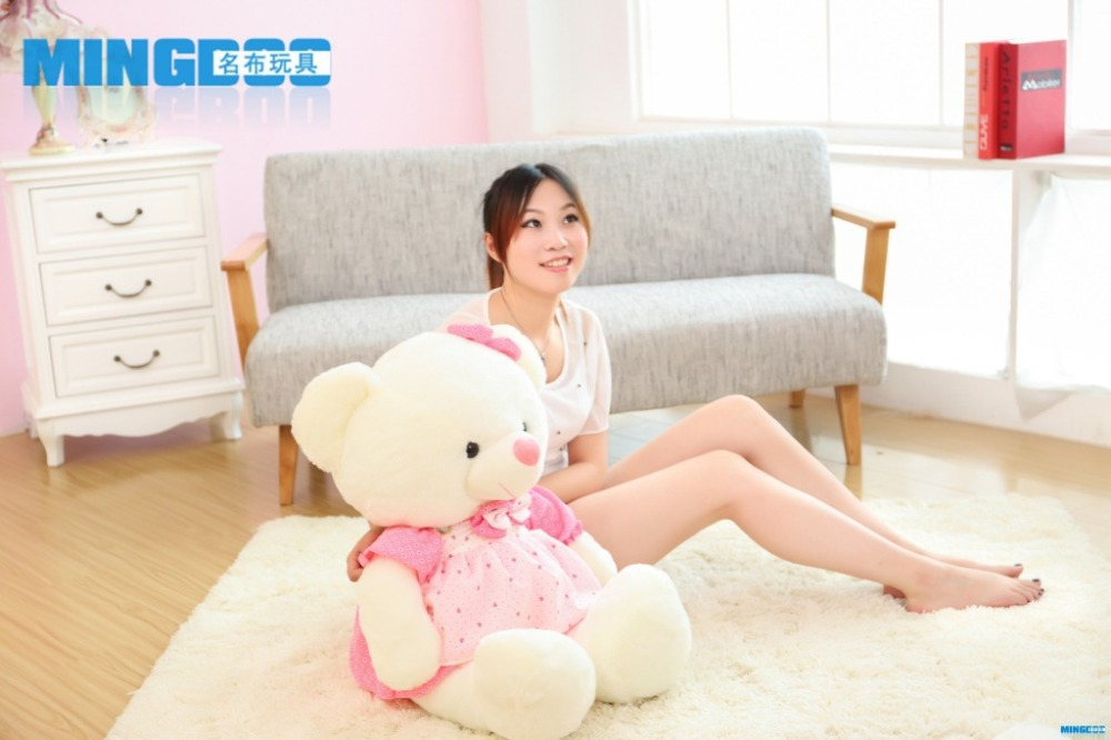 big size lovely teddy bear toy plush princess pink skirt teddy bear doll gift about 85cm(China (Mainland))