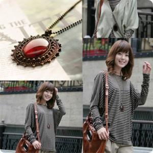 Korean fashion all-match Bohemia oval retro amber imitation jewel necklace jewelry wholesale free shipping(China (Mainland))