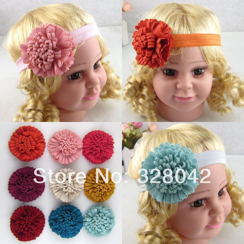 2014 Hot handmade DIY fabric Flower Headbands cheap Ruffled rosettes flower Baby Kid's Hairbands Hair Accessories 240pcs/lot(China (Mainland))