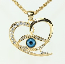 Women Gifts!Fashion Sweet Heart Pendant Rhinestone Necklace Turkey Evil Eye 18K Gold Plated Chain Necklace For Women(China (Mainland))