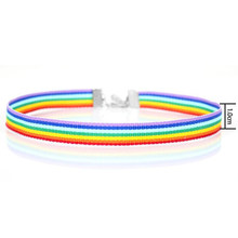 Men Women Gay Pride Rainbow Choker Necklace LGBT Gay and Lesbian Pride Lace Chocker Ribbon Collar with Pendant Jewelry(China)