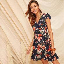 SHEIN Boho Многоцветный цветочный принт с оборками на подоле, самозавязывающееся летнее платье, женское платье с высокой талией, приталенное и р...(China)