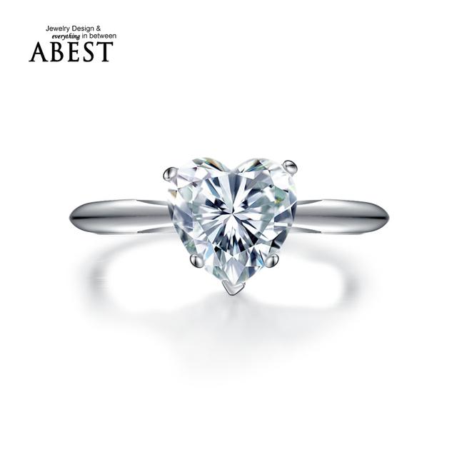JewelrySona Anillo En Forma de Corazón de lujo 2 carat NSCD anillo de Compromiso Anillo de