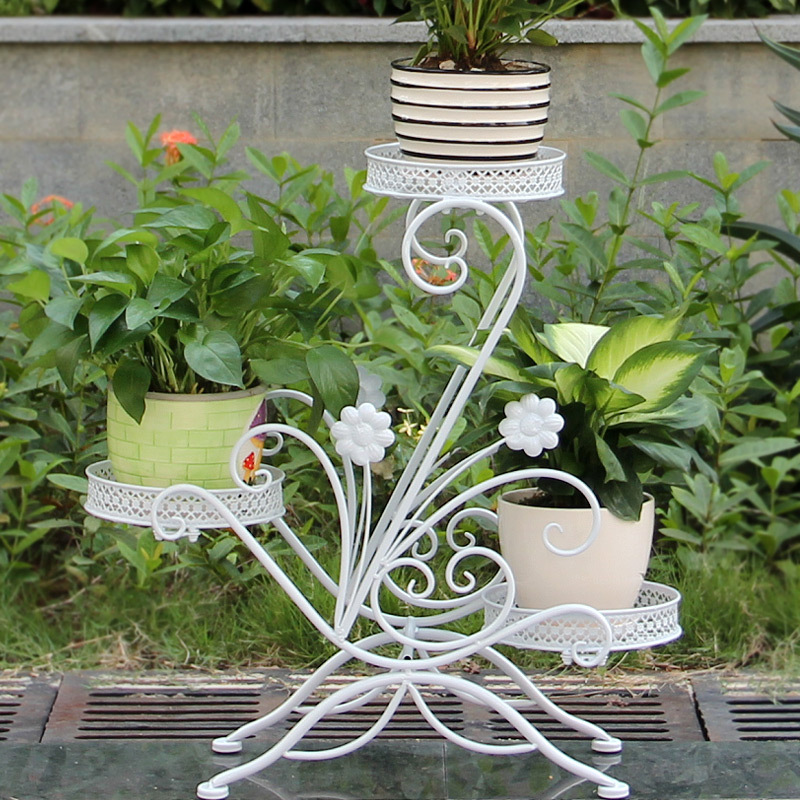 ECDAILY  Excellent Nocquet Continental Iron flower garden multi-floor living room balcony showy flower three flower pots   FREE<br><br>Aliexpress