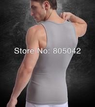 2014 New High Quality fashion Mens Clothing Sport Body Slimming Undershirt Shaper Vest Muscle Tank Tops 100pcs/lot+free shipping(China (Mainland))