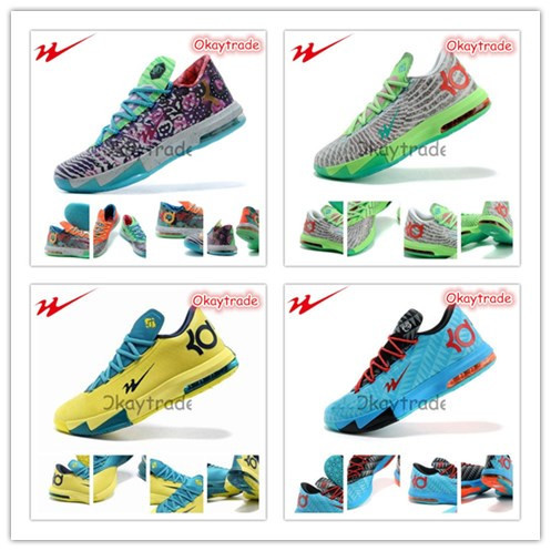 Wholesale Famous Trainers 6 Colorways Jazovo Kevin VI Men's Sports Basketball Shoes - Size 41---46(China (Mainland))