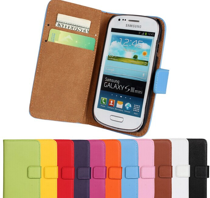 10 color S3 Mini Stand Wallet Genuine Leather Case Samsung Galaxy i8190 Mobile Phone Bag Cover Drop Ship+flim - Biaobo Company Limited's store