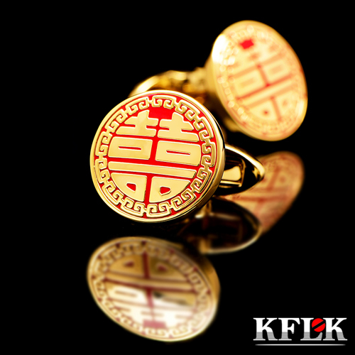 KFLK popular French shirt cuff links China red cufflinks married men present happiness sleeve pin high quality fashion cufflinks(China (Mainland))