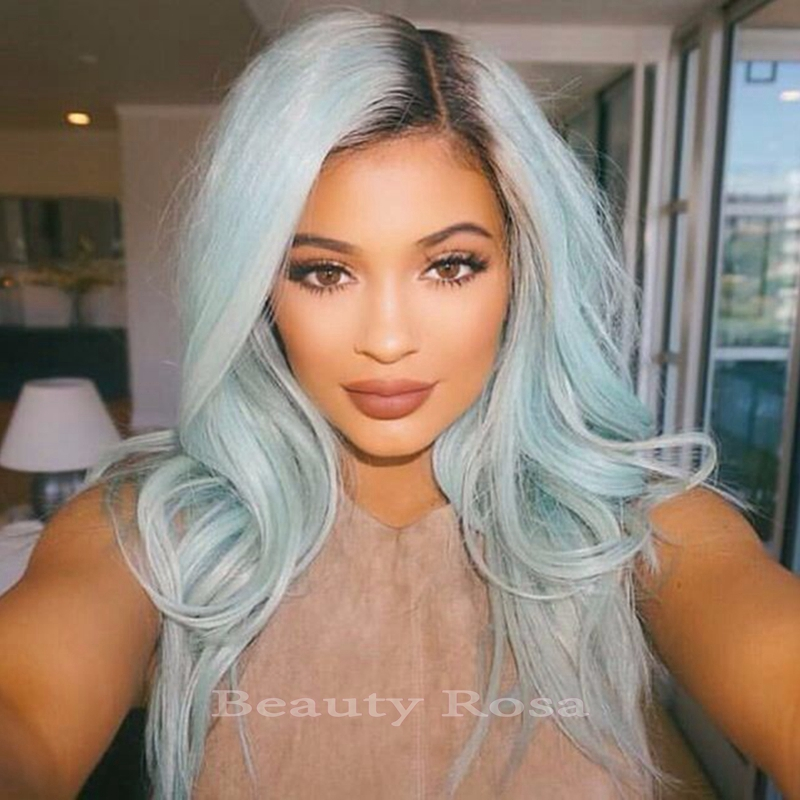 Kylie Jenner Style Mint Green Wavy Synthetic Lace Front Wig Ombre Color Black To Mint Green Heat resistant Hair Woman Wig<br><br>Aliexpress