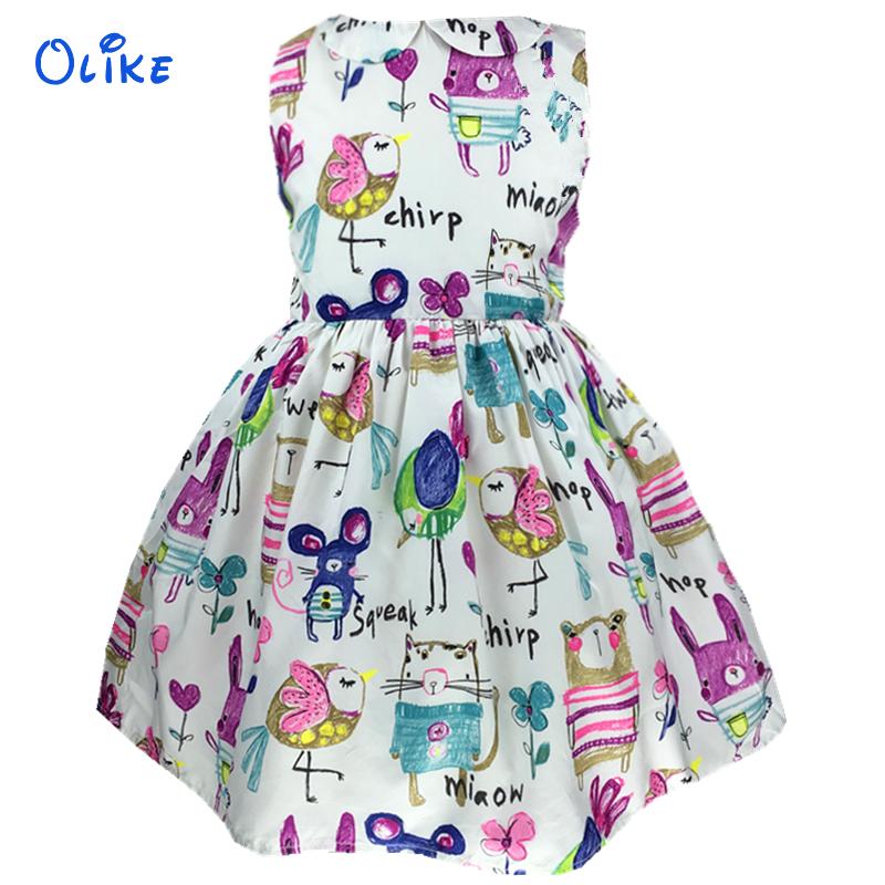 2016 New Baby Girl Dress Sleeveless Princess Summer Cartoon Print Girls Dresses Kids Costume Children Clothing 3Y-7Y Ok0427(China (Mainland))
