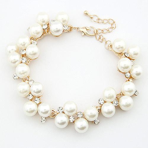 Fashion New Brand Design Luxurious 18K Gold Charm Crystal Cubic Zircon Diamond Pearl Beads Bracelet For Women Jewelry D032(China (Mainland))