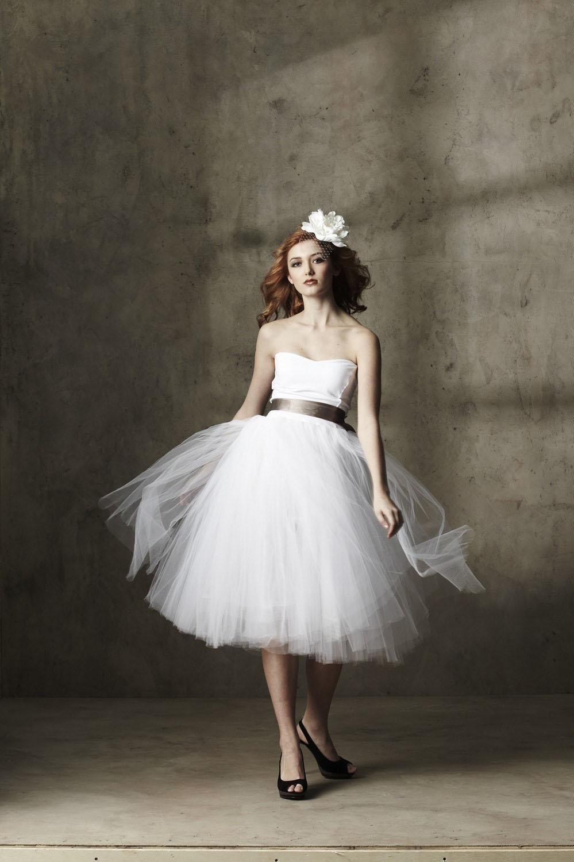 Sweet tea length ball gown wedding dress princess bridal for White tea length wedding dress