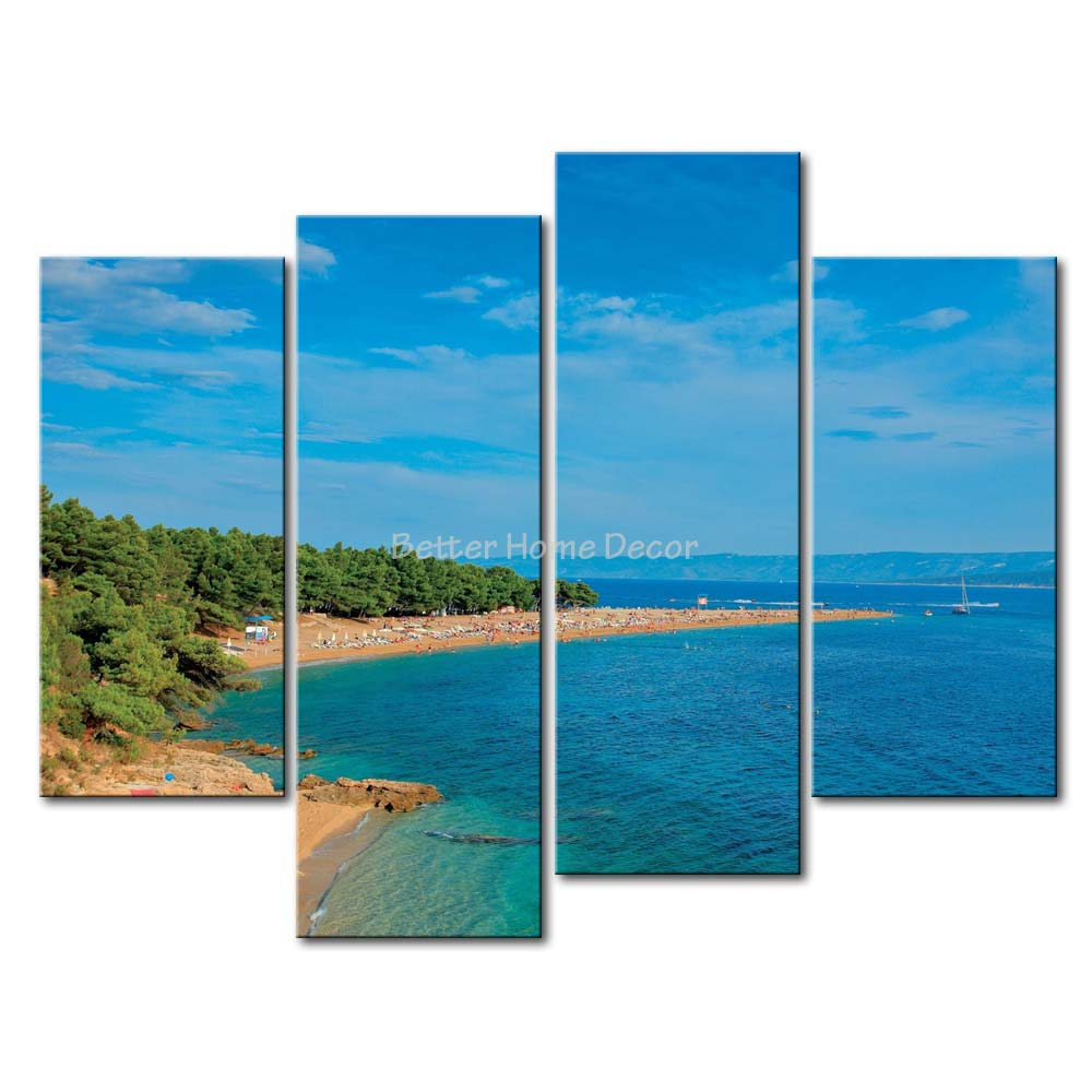 3 Piece Blue Wall Art Painting Brac There Have The Shape Of Love The Peach Beach Picture Print On Canvas Seascape(China (Mainland))
