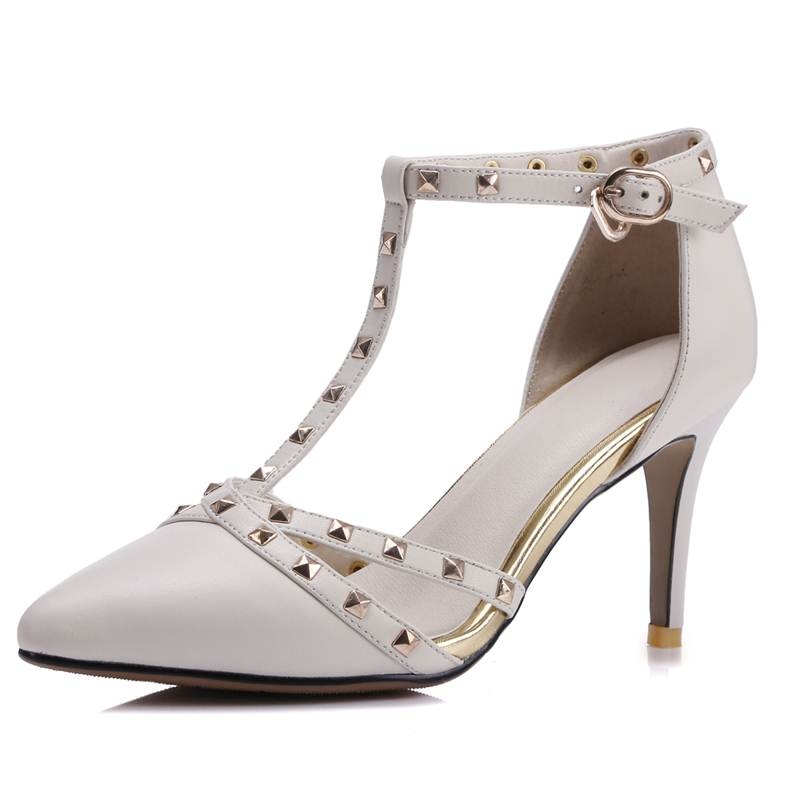 Mary Janes sapatos femininos shoes woman point toe Rivets summer pump genuine leather party thin high heels 8 cm