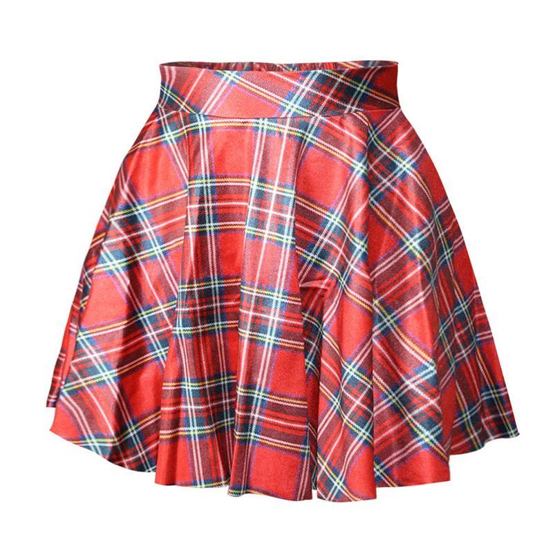Beautiful Plaid Skater Skirts Women Pleated Ball Gown Mini Skirtsin Skirts